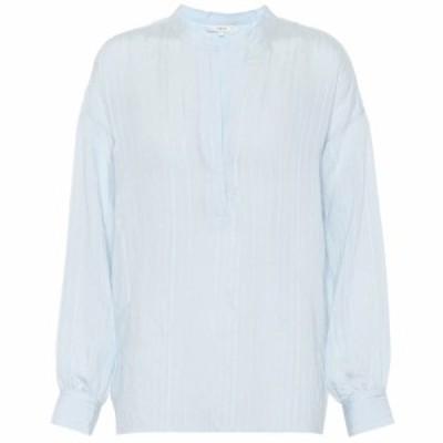 ヴィンス Vince レディース ブラウス・シャツ トップス Drapey Stripe jacquard blouse powder blue