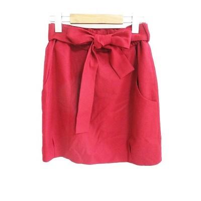 【中古】アナトリエ ANATELIER ベルトリボン ウール スカート ミニ 赤  レディース 【ベクトル 古着】