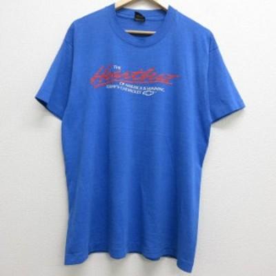 古着 半袖 ビンテージ Tシャツ 80年代 80s アメリカ シボレー クルーネック USA製 青 ブルー 霜降り XLサイズ 中古 メンズ Tシャツ 古着