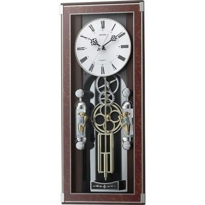 名入れ無料 プレゼント 電波時計 掛け時計 |リズム時計 名入れプレート付き 電波掛け時計 ソフィアーレプリモ NAI4MN535SR23 木目仕上(白)