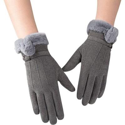 手袋 レディース Candybay グローブ 裏起毛 スエード 保温 防寒 通学 通勤 保温性抜群 五本指 スエード 冬 秋 かわいい クリスマス 誕