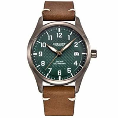 腕時計  Corgeut 40mm メンズ腕時計  自動巻き 機械式 日付 夜光 防水 ステンレススチール素材 ブラウンケースグリーンダイヤル。
