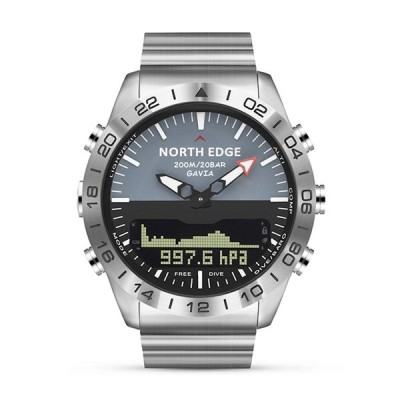 NORTH EDGE GAVIA2 200M防水高度計バロメーターコンパス温度計ハイキングアウトドアスポーツデジタル時計