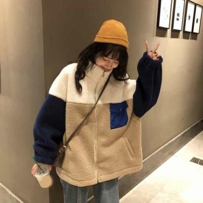 レディース ボアブルゾン もこもこ ボアジャケット ボアアウター カジュアル アウター 韓国