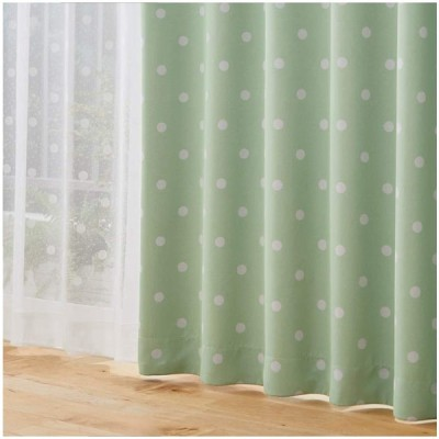 [nissen(ニッセン)] カーテン レースカーテン 4枚セット 遮光 洗える ドット柄 水玉 スイーツカラー 昼間見えにくい ピスタチオ 幅100