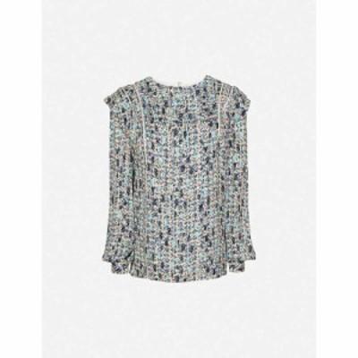 リース REISS レディース ブラウス・シャツ トップス Olivia ditsy-print ruffle crepe blouse BLUE