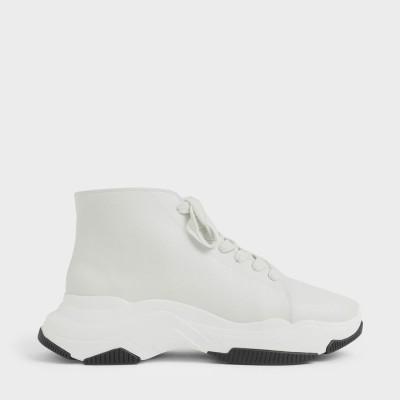 【再入荷】レーズアップ チャンキースニーカー / Lace-Up Chunky Sneakers (White)
