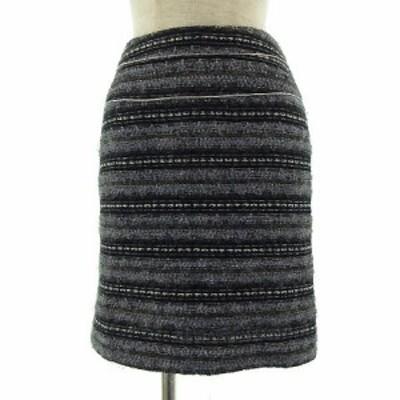 【中古】ボールジー BALLSEY トゥモローランド スカート ひざ丈 ツイード ラメ入り グレー シルバー 水色 白 黒 36