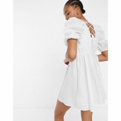 ワイ エー エス Y.A.S レディース ワンピース ミニ丈 ワンピース・ドレス strap detail mini smock dress in white ブライトホワイト