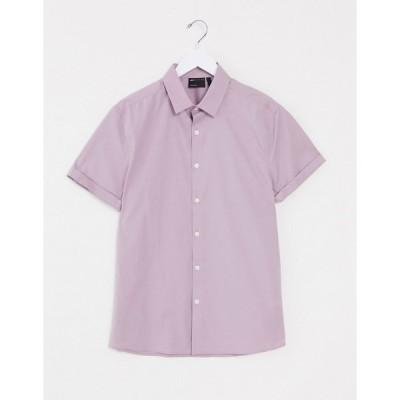 エイソス ワークシャツ メンズ ASOS DESIGN stretch skinny fit shirt in lilac in short sleeve エイソス ASOS
