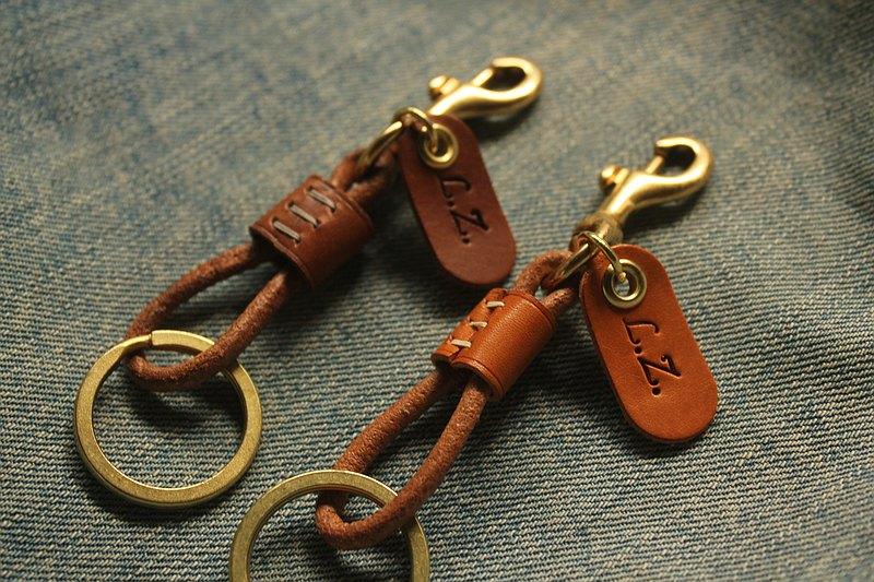 決不撞款 純手縫 真皮黃銅鑰匙圈