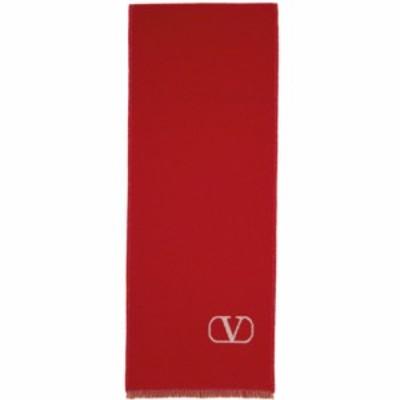 ヴァレンティノ Valentino Garavani レディース マフラー・スカーフ・ストール Wool and Cashmere VLogo Scarf Red