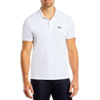 ラコステ ポロシャツ トップス メンズ Men's Regular-Fit Embroidered Animal-Print Croc Logo Piqué Polo Shirt White/ Frog