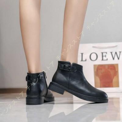 ショートブーツ 大きいサイズ 歩きやすい エンジニアブーツ ベルト ぺたんこ 黒 小さいサイズ 靴 疲れにくい ショートブーツ ワークブーツ 美脚ブーツ