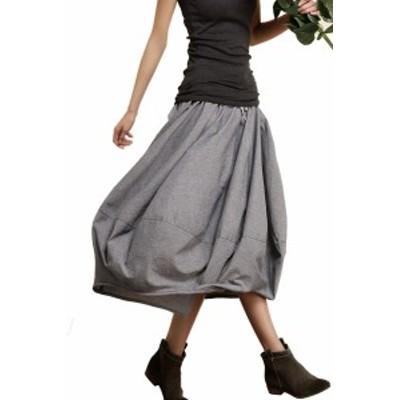 綿 麻 ランタン スカート 春 夏 大きいサイズ レトロ フラワースカート サラサラ涼しい すっぽり 体型カバー 調節機能付き コーデもしや