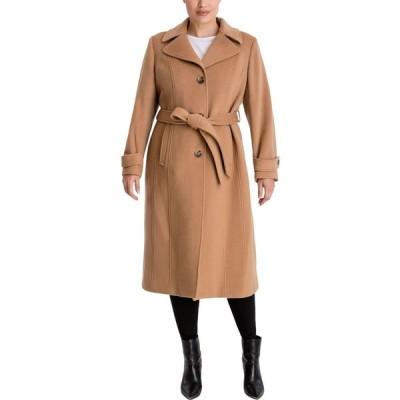 アン クライン Anne Klein レディース コート 大きいサイズ アウター Plus Size Single-Breasted Belted Maxi Coat Camel