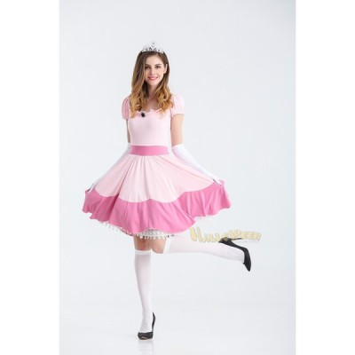 プリンセス ハロウィン コスプレ 衣装/ピンク色 王冠 ロング丈ドレス/Yapy4723