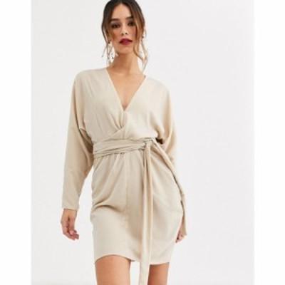 エイソス ASOS DESIGN レディース ワンピース ラップドレス ミニ丈 mini dress with batwing sleeve and wrap waist in velvet ライトピ