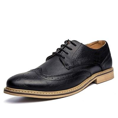 CHENGFA ビジネスシューズ メンズ 牛革 レースラップ革靴 紳士靴 ウイングチップ ウォーキング 通気性 防滑