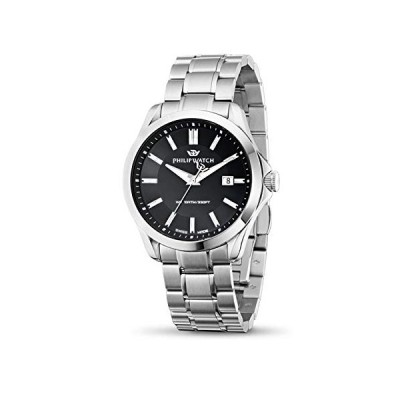 Philip Blaze Men's Quartz Watch with Black Dial Analogue Display and Silver Stainless Steel Strap R8253165004 並行輸入品