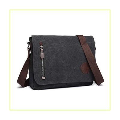 Kono Messenger Bag for Men and Women Canvas Vintage Crossbody Bag for Work School Black【並行輸入品】