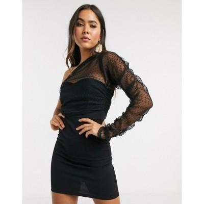エイソス レディース ワンピース トップス ASOS DESIGN one sleeve dobby mesh mini dress in black
