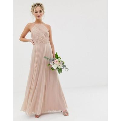 エイソス ASOS DESIGN レディース ワンピース ワンピース・ドレス Bridesmaid pinny maxi dress with ruched bodice Soft blush