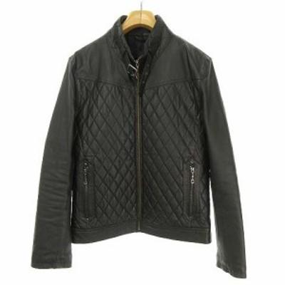 【中古】メイルアンドコー MALE&CO レザー 豚革 ライダース ジャケット ブルゾン 中綿 M ブラック メンズ