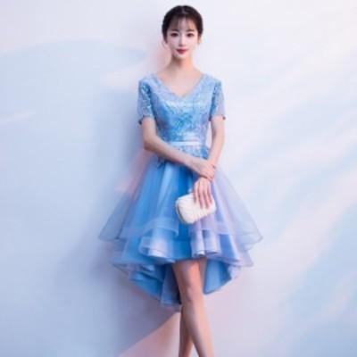 韓國 パーティードレス フィッシュテール Vネック ミニ丈 ワンピース 刺繍 チュール 大きいサイズ 小さいサイズ 2019春新