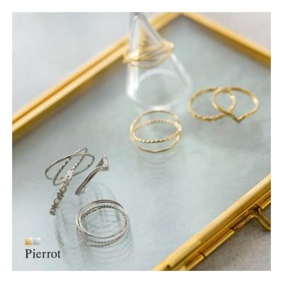 Pierrot 4setシンプルリング 指輪 リング 4set ニッケルフリー 手作り クロス ゴールド シルバー シンプル 華奢 上品 レディース pierrot ゴールド  レディース