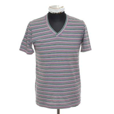 ピジャマクロージング pyjama clothing ボーダーVネックTシャツ ショートスリーブ 半袖 サイズS 中古 古着