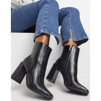 グラマラス ワイド フィル レディース ブーツ&レインブーツ シューズ Glamorous Wide Fit clean boot with square toe in black croc Black croc pu