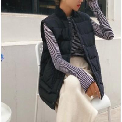 中綿 ベスト 韓国ファッション 無地 スタイリッシュ レデイース トップス ダウンベスト トレンド