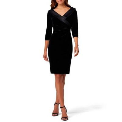 タハリエーエスエル  レディース ワンピース トップス Satin V-Neck 3/4 Sleeve Side Ruched Stretch Velvet Sheath Dress