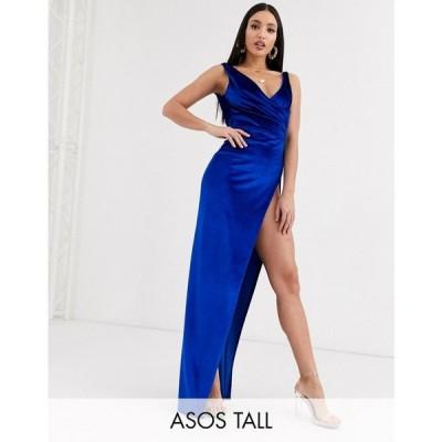 エイソス ASOS Tall レディース ワンピース マキシ丈 ワンピース・ドレス ASOS DESIGN Tall cowl back velvet maxi dress ロイヤルブルー