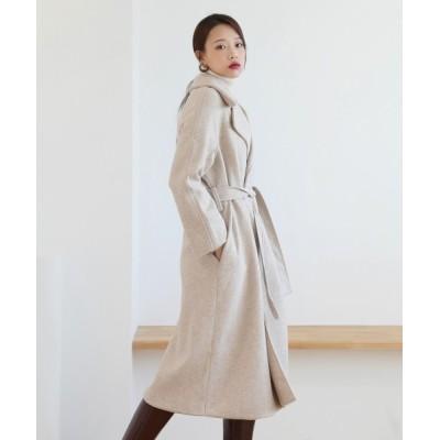 by muni:r / ベーシックルーズフィット腰ベルトロングコート WOMEN ジャケット/アウター > テーラードジャケット