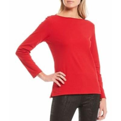 カルバンクライン レディース Tシャツ トップス Solid Knit Jersey Long Sleeve Boat Neck Top Rouge