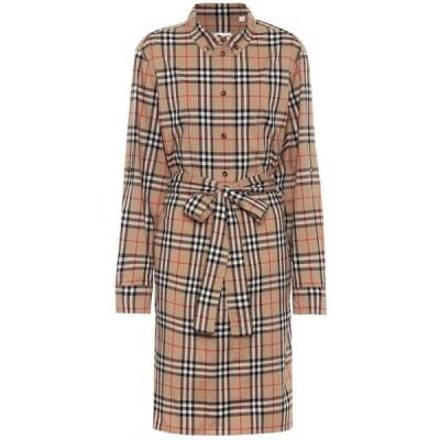 バーバリー Burberry レディース ワンピース シャツワンピース ワンピース・ドレス vintage check stretch-cotton shirt dress Archive Beige IP Check