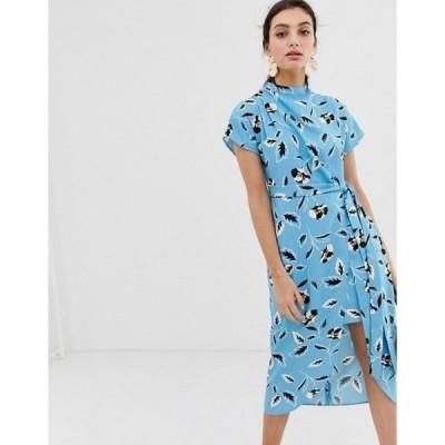 リバーアイランド レディース ワンピース トップス River Island dress with tie waist in blue