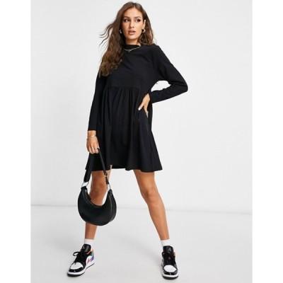 ブレーブソウル レディース ワンピース トップス Brave Soul lizzie high neck smock dress in black