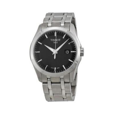 ティソ Couturier ブラック ダイヤル ステンレス スチール メンズ 腕時計 T0354101105100