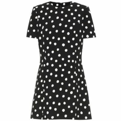 イヴ サンローラン Saint Laurent レディース ワンピース ワンピース・ドレス Polka-dot crepe minidress Noir Craie
