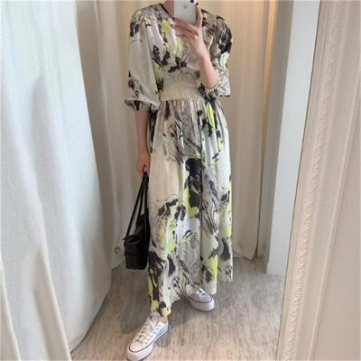 すっきり美人見え💙     ハングルセレブstyle 百掛け ゆったり ラウンドネック ワンピ 大人気 秋夏 ロングスカート ファッション