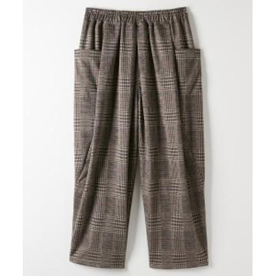 パンツ ワイド ガウチョ 大きいサイズ レディース 起毛 チェック バルーン グレー系/ブラウン系 LL/3L ニッセン nissen