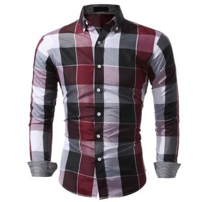 長袖シャツ メンズ チェック柄 シャツ 配色 ビジネス スリム トップス 大きいサイズ 新作