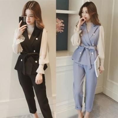 セットアップ パンツ きれいめ 上品 スマート ベスト スーツスタイル