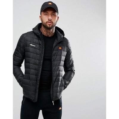エレッセ メンズ ジャケット・ブルゾン アウター ellesse padded jacket with hood in black