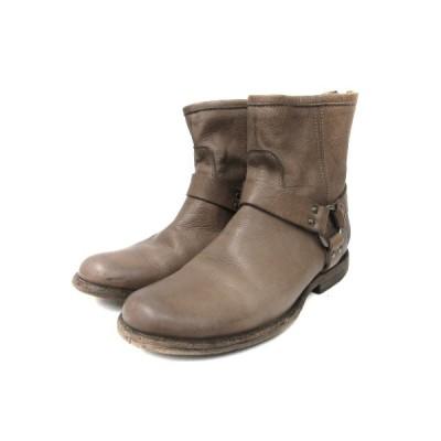 【中古】フライ FRYE ショート ブーツ ラウンドトゥ PHILLIP HARNESS 76870 レザー 9B グレー 靴 レディース 【ベクトル 古着】