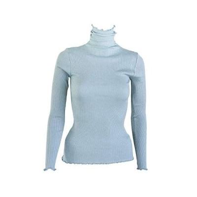 シルク 100% インナー タートルネック セーター カットソー 絹 100% レディース カラバリ13色 (ブルーミスト, L)