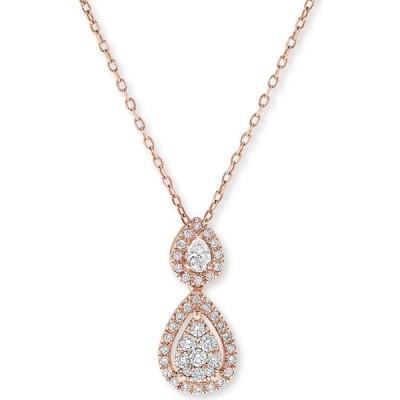 """メイシーズ Macy's ユニセックス ネックレス Diamond Double Teardrop Pendant Necklace (1/3 ct. t.w.) in 14k Rose Gold, 16"""" + 2"""" Extender Rose Gold"""